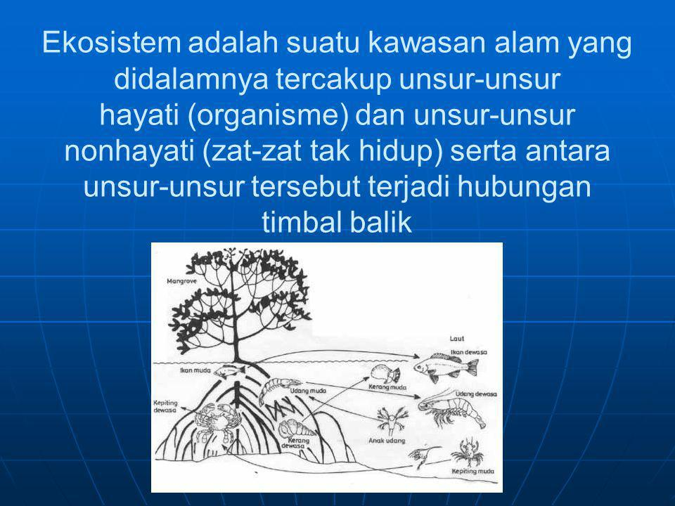 Ekosistem adalah suatu kawasan alam yang didalamnya tercakup unsur-unsur hayati (organisme) dan unsur-unsur nonhayati (zat-zat tak hidup) serta antara unsur-unsur tersebut terjadi hubungan timbal balik