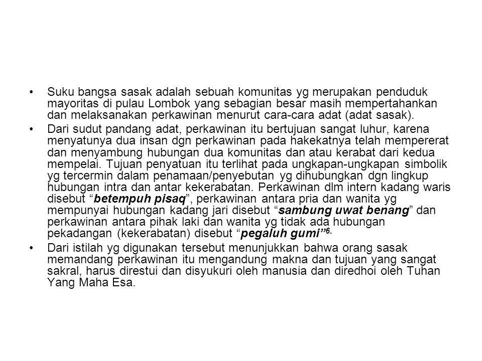 Suku bangsa sasak adalah sebuah komunitas yg merupakan penduduk mayoritas di pulau Lombok yang sebagian besar masih mempertahankan dan melaksanakan perkawinan menurut cara-cara adat (adat sasak).
