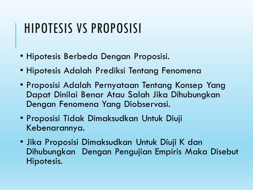 HIPOTESIS VS PROPOSISI