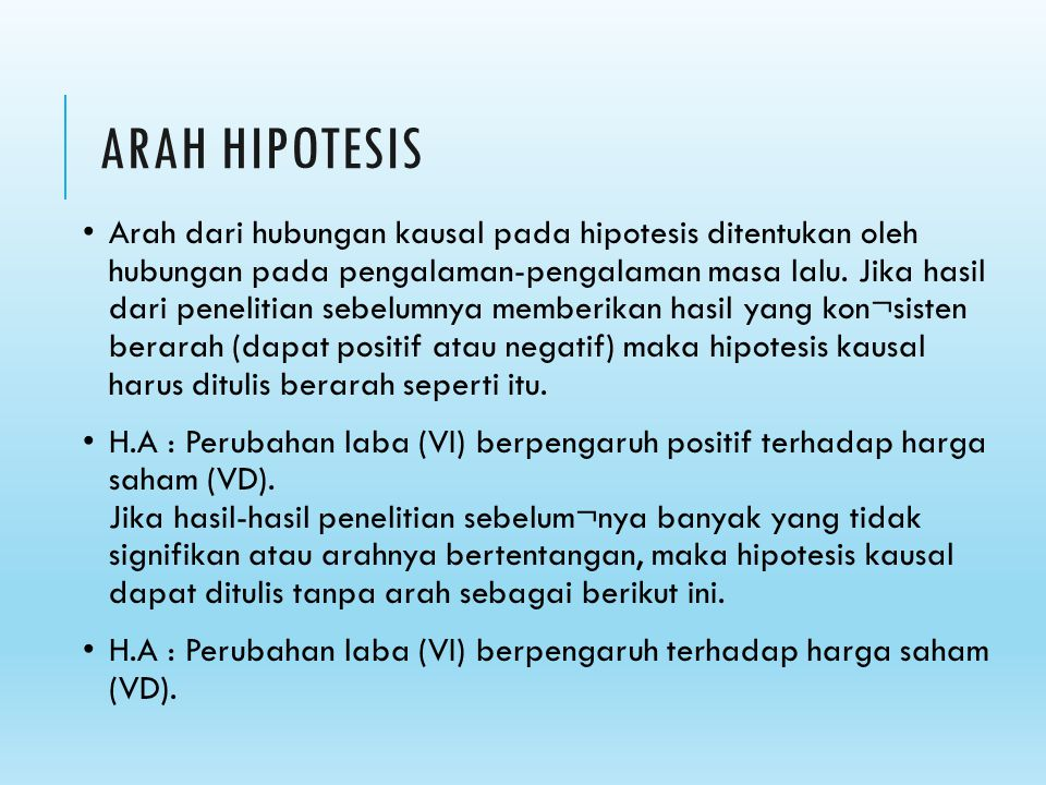 ARAH HIPOTESIS
