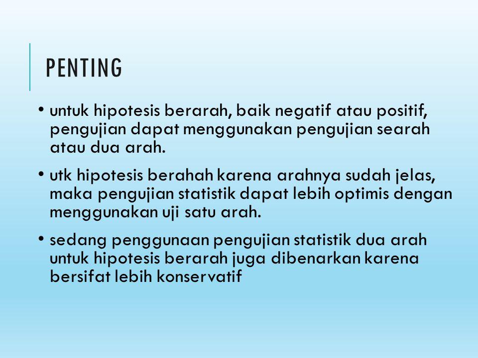 PENTING untuk hipotesis berarah, baik negatif atau positif, pengujian dapat menggunakan pengujian searah atau dua arah.