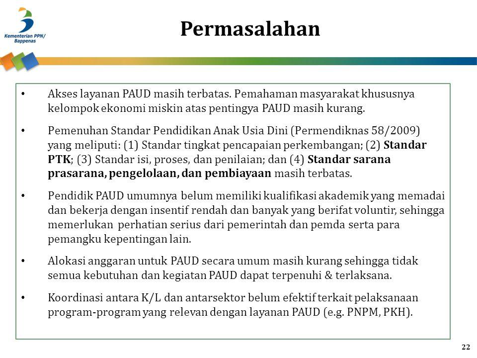 Permasalahan Akses layanan PAUD masih terbatas. Pemahaman masyarakat khususnya kelompok ekonomi miskin atas pentingya PAUD masih kurang.