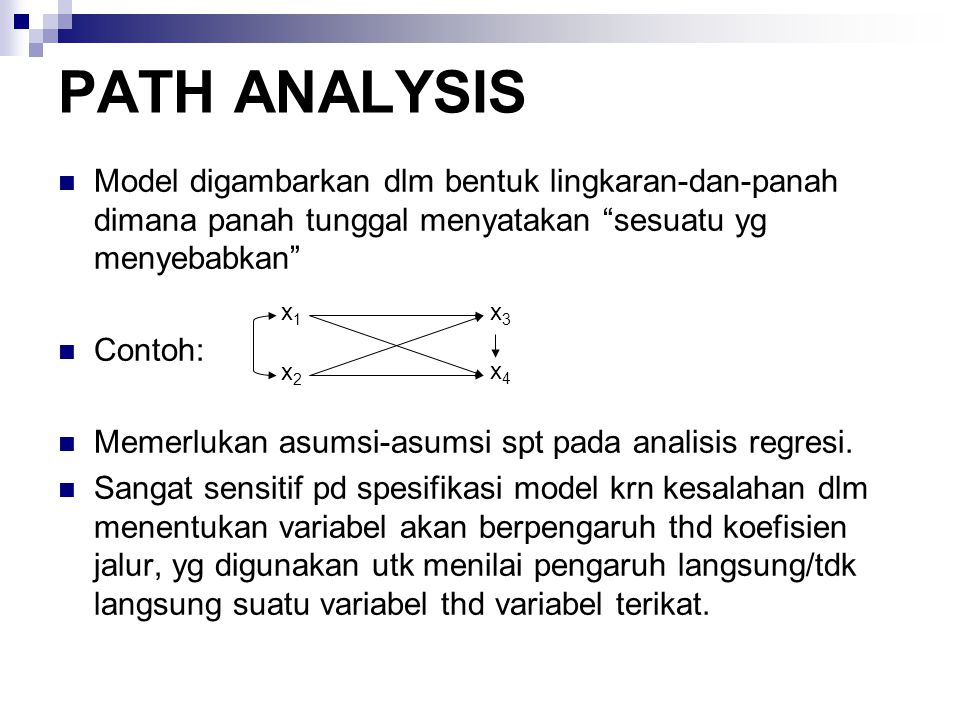 PATH ANALYSIS Model digambarkan dlm bentuk lingkaran-dan-panah dimana panah tunggal menyatakan sesuatu yg menyebabkan