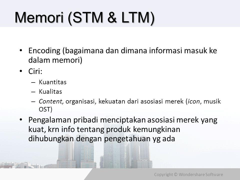 Memori (STM & LTM) Encoding (bagaimana dan dimana informasi masuk ke dalam memori) Ciri: Kuantitas.