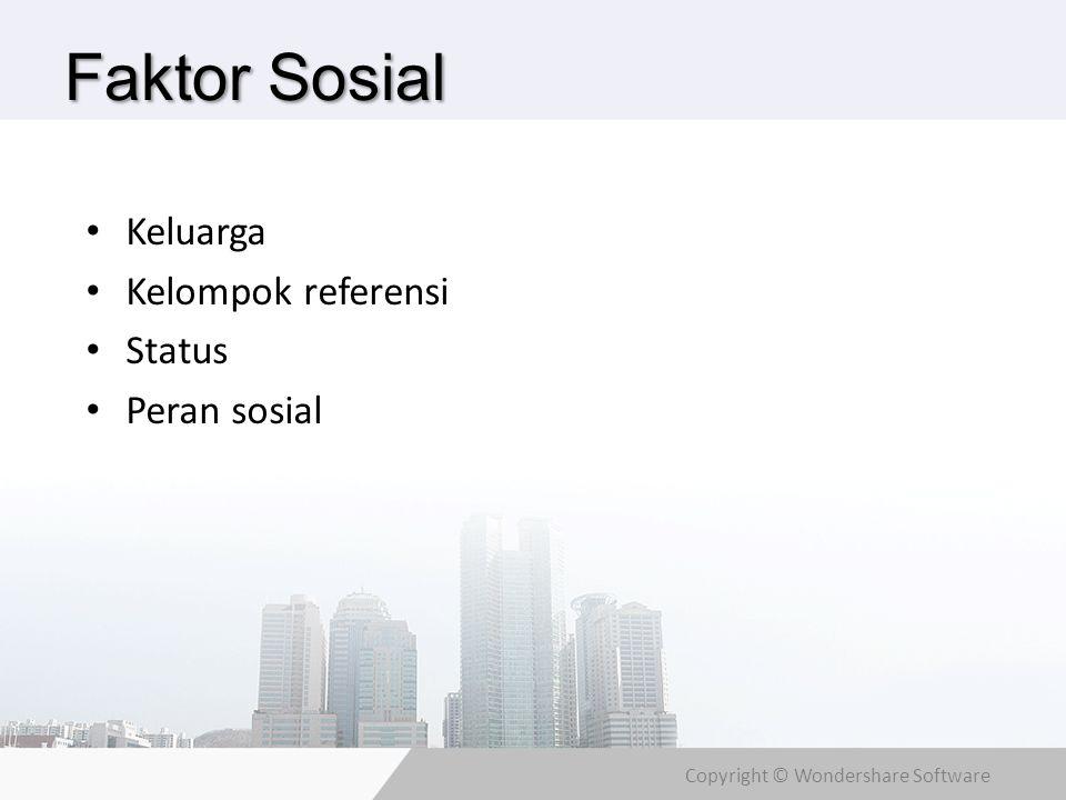 Faktor Sosial Keluarga Kelompok referensi Status Peran sosial