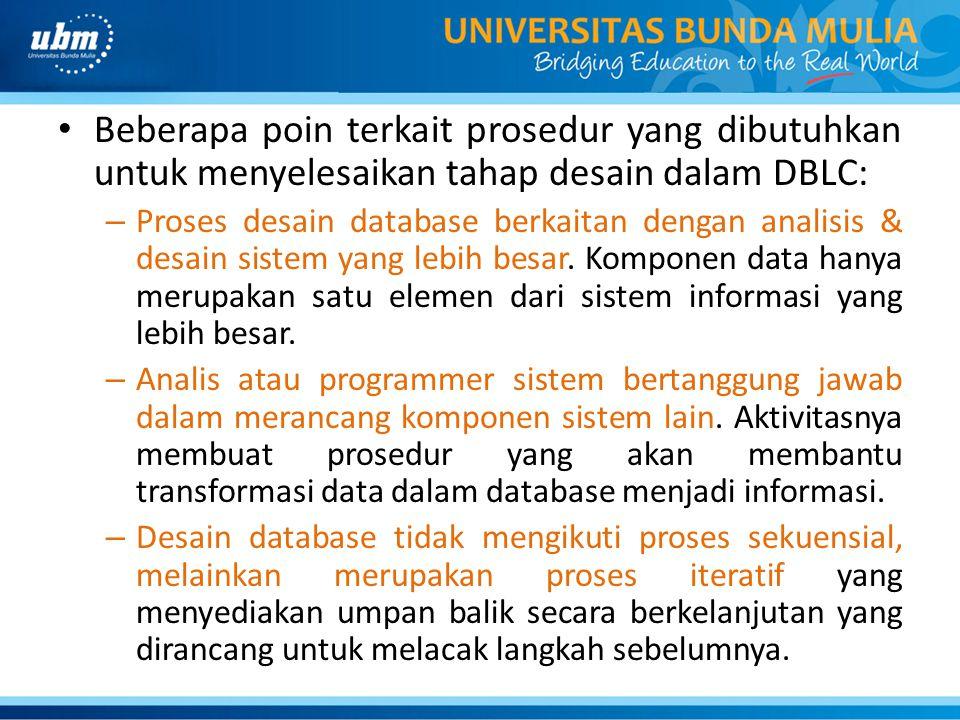 Beberapa poin terkait prosedur yang dibutuhkan untuk menyelesaikan tahap desain dalam DBLC: