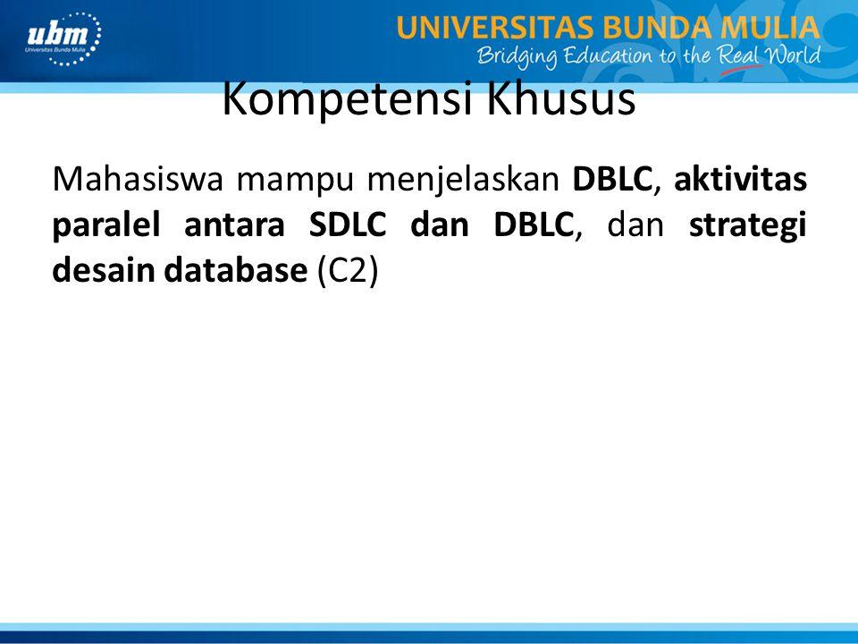 Kompetensi Khusus Mahasiswa mampu menjelaskan DBLC, aktivitas paralel antara SDLC dan DBLC, dan strategi desain database (C2)