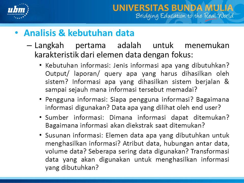 Analisis & kebutuhan data