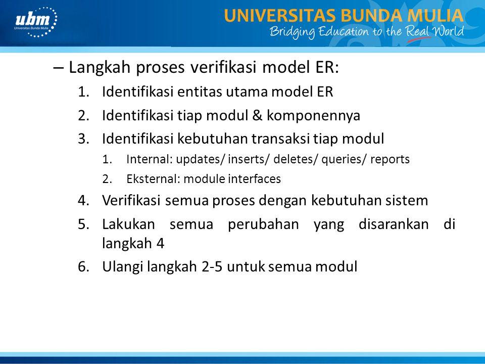 Langkah proses verifikasi model ER: