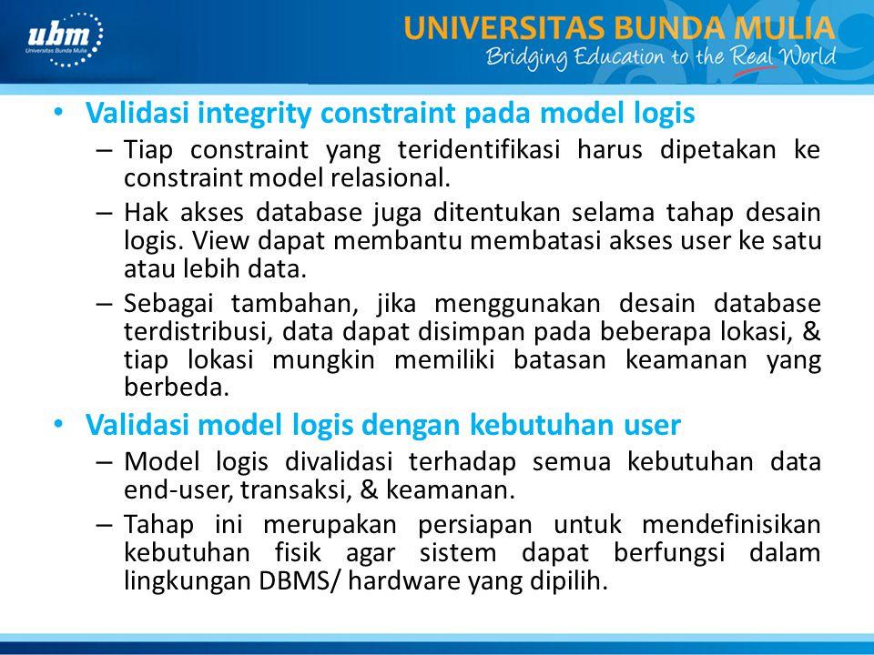 Validasi integrity constraint pada model logis