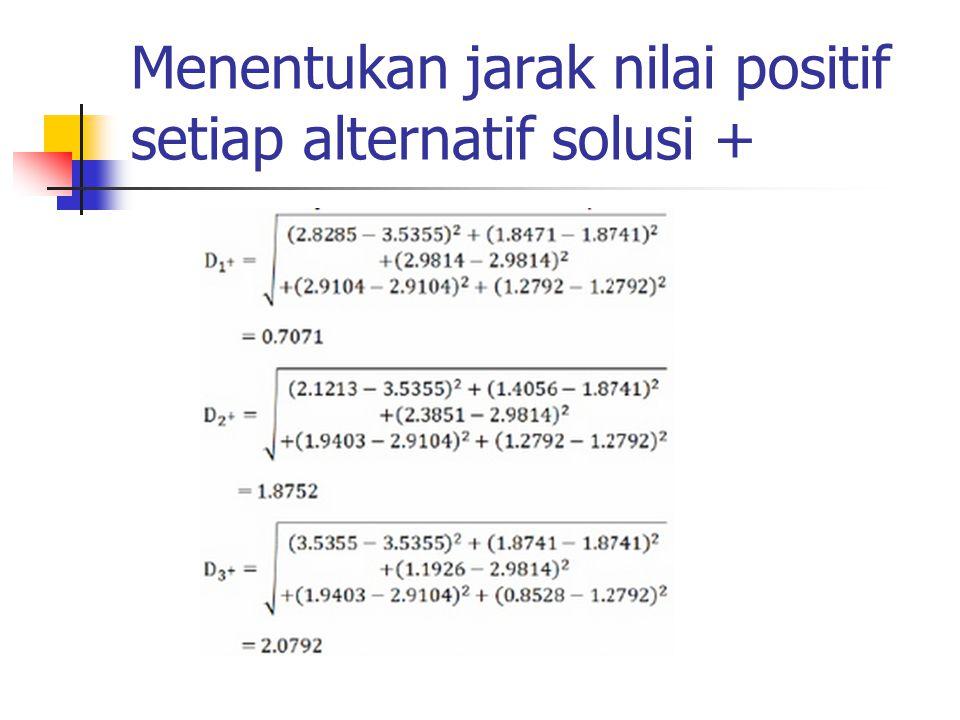 Menentukan jarak nilai positif setiap alternatif solusi +