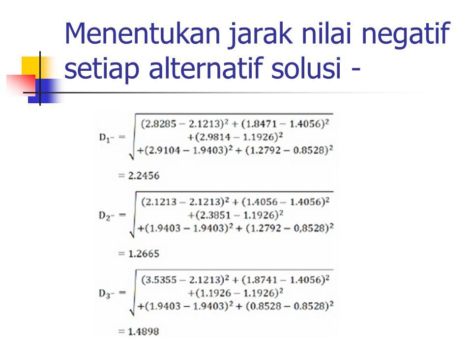 Menentukan jarak nilai negatif setiap alternatif solusi -
