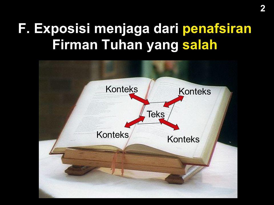 F. Exposisi menjaga dari penafsiran Firman Tuhan yang salah