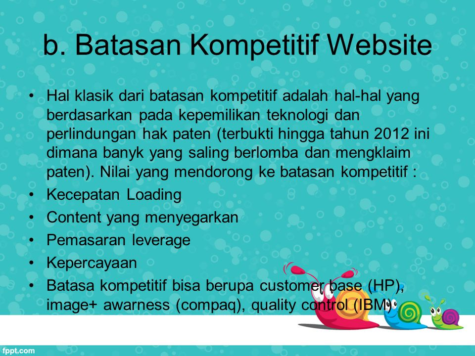 b. Batasan Kompetitif Website