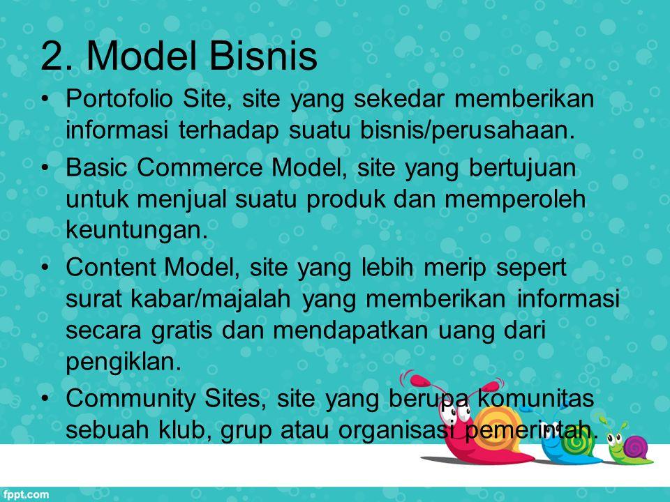 2. Model Bisnis Portofolio Site, site yang sekedar memberikan informasi terhadap suatu bisnis/perusahaan.