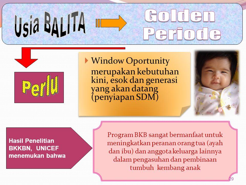 Usia BALITA Golden Periode Perlu Window Oportunity