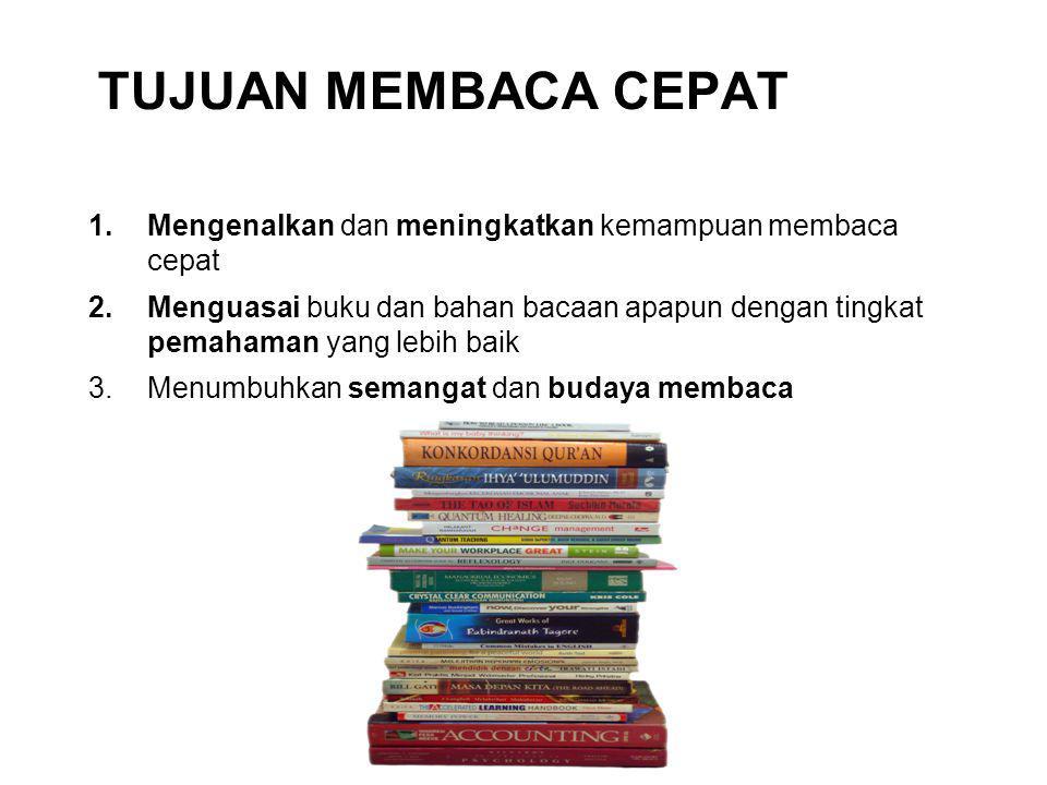 Tujuan MEMBACA CEPAT Mengenalkan dan meningkatkan kemampuan membaca cepat.