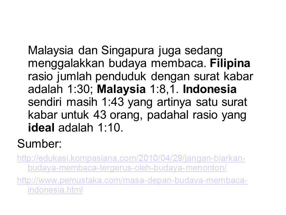 Malaysia dan Singapura juga sedang menggalakkan budaya membaca