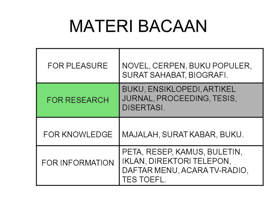 MATERI BACAAN FOR PLEASURE