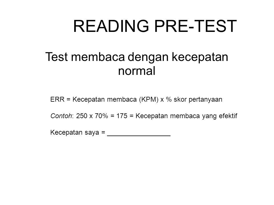 Test membaca dengan kecepatan normal