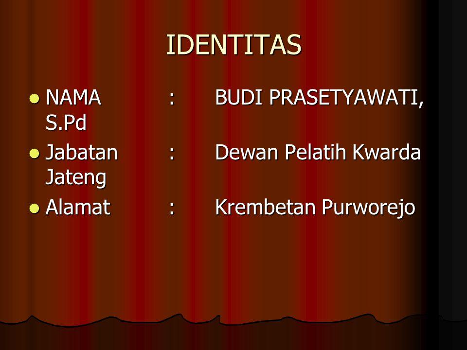 IDENTITAS NAMA : BUDI PRASETYAWATI, S.Pd