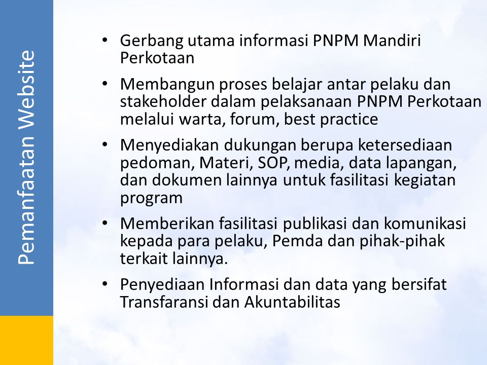 Pemanfaatan Website Gerbang utama informasi PNPM Mandiri Perkotaan