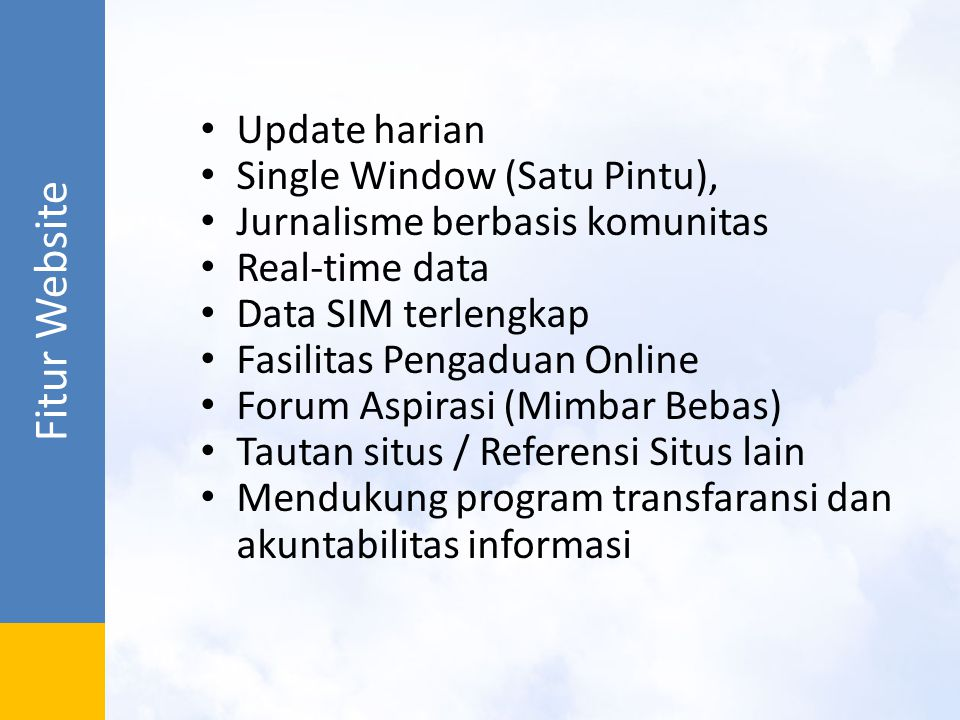 Fitur Website Update harian Single Window (Satu Pintu),