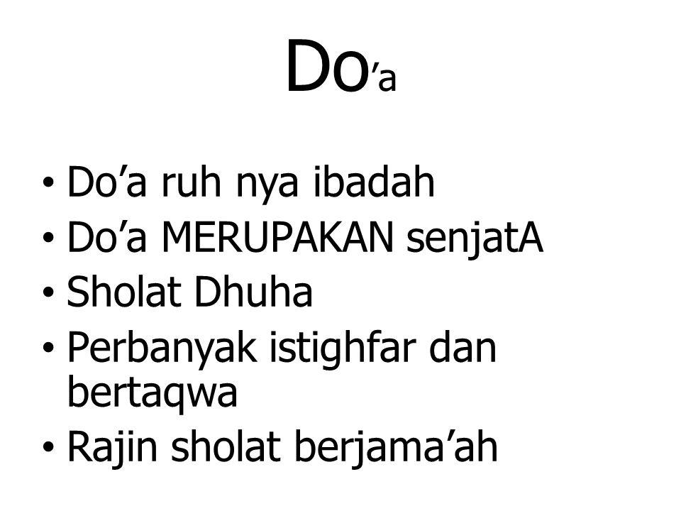 Do'a Do'a ruh nya ibadah Do'a MERUPAKAN senjatA Sholat Dhuha