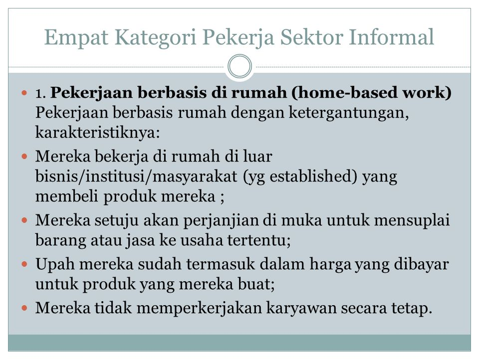 Empat Kategori Pekerja Sektor Informal