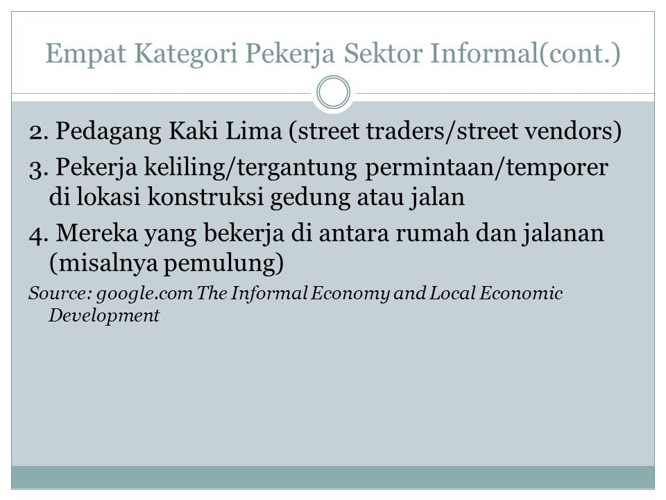 Empat Kategori Pekerja Sektor Informal(cont.)