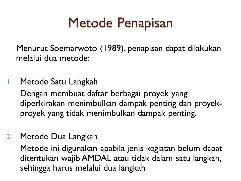 Metode Penapisan Menurut Soemarwoto (1989), penapisan dapat dilakukan melalui dua metode: Metode Satu Langkah.