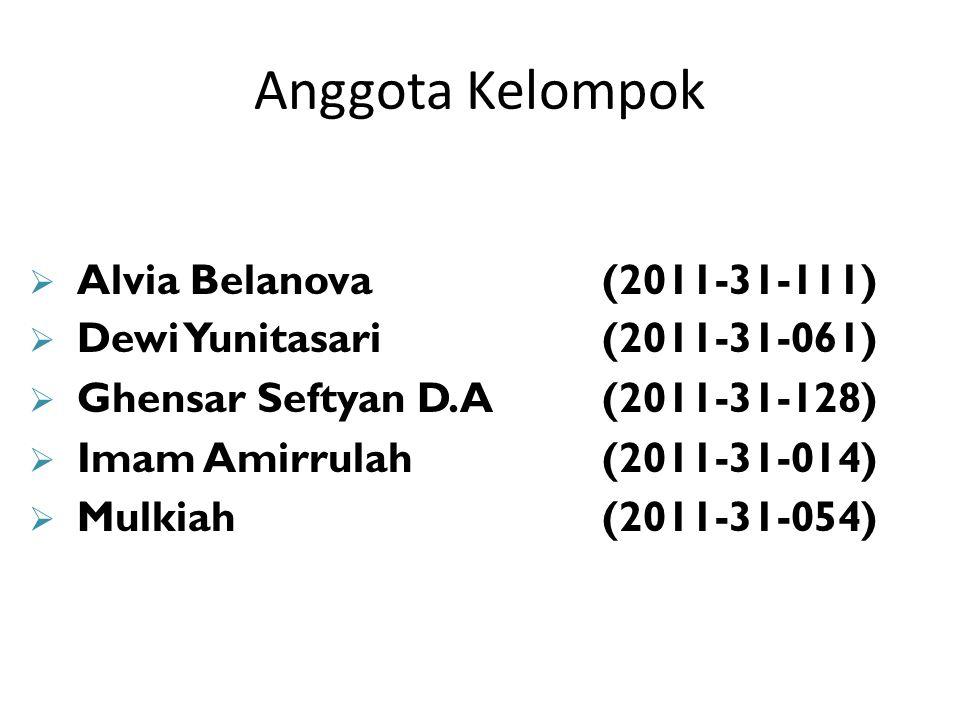 Anggota Kelompok Alvia Belanova (2011-31-111)