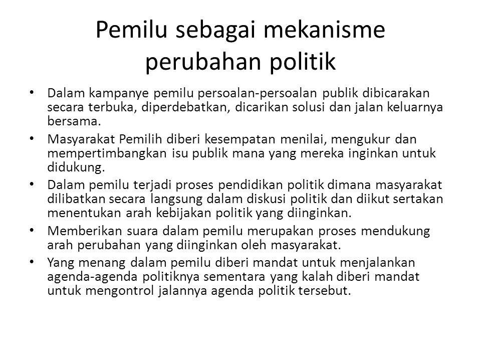 Pemilu sebagai mekanisme perubahan politik