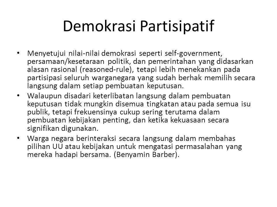 Demokrasi Partisipatif