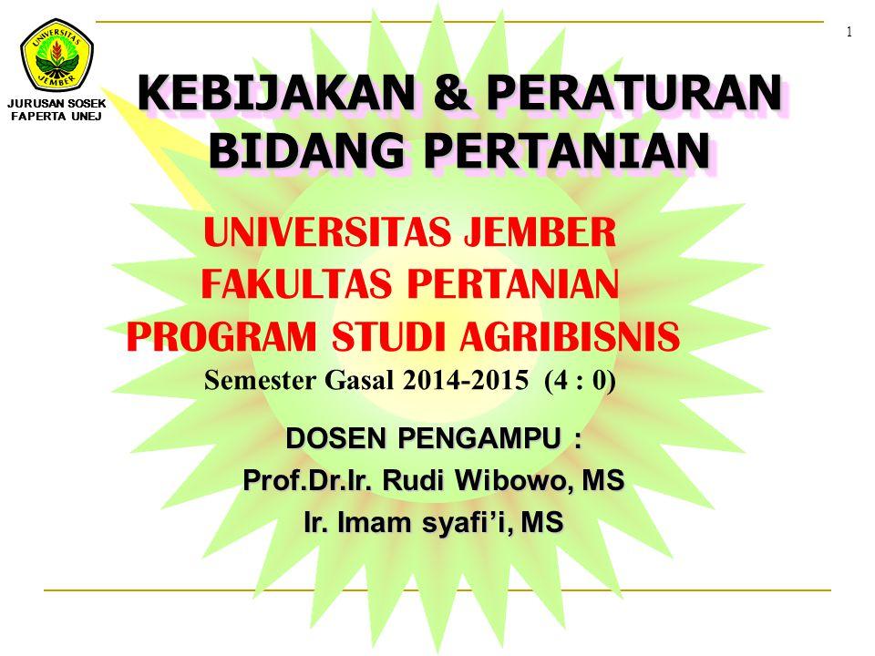 KEBIJAKAN & PERATURAN BIDANG PERTANIAN Prof.Dr.Ir. Rudi Wibowo, MS