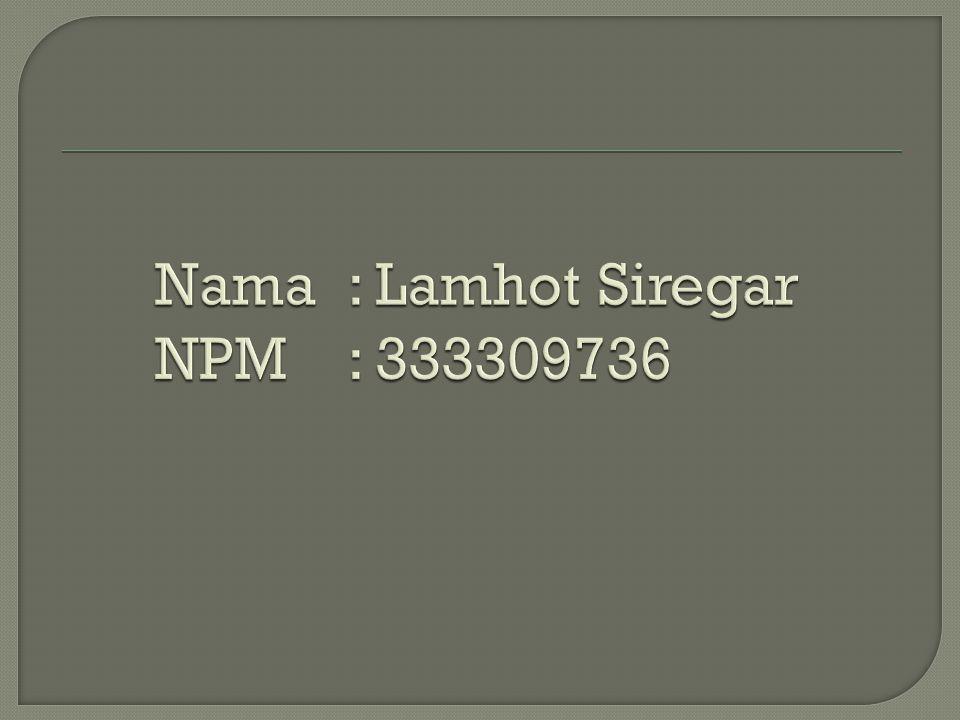 Nama : Lamhot Siregar NPM : 333309736