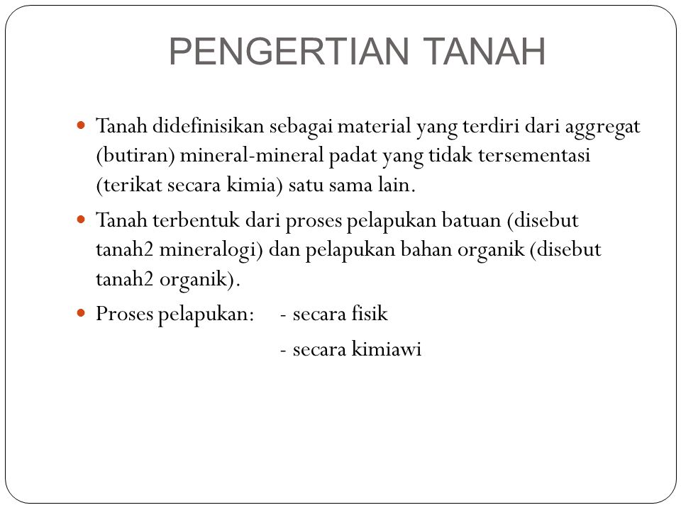 PENGERTIAN TANAH