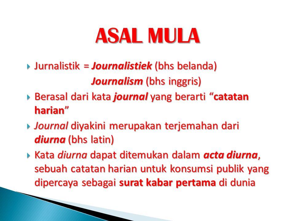 ASAL MULA Jurnalistik = Journalistiek (bhs belanda)