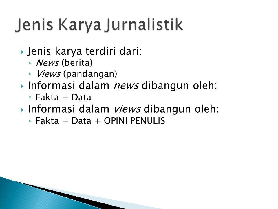 Jenis Karya Jurnalistik