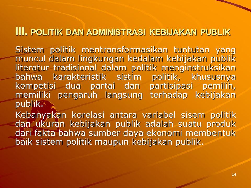 III. POLITIK DAN ADMINISTRASI KEBIJAKAN PUBLIK