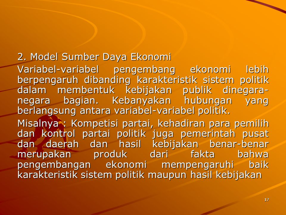 2. Model Sumber Daya Ekonomi