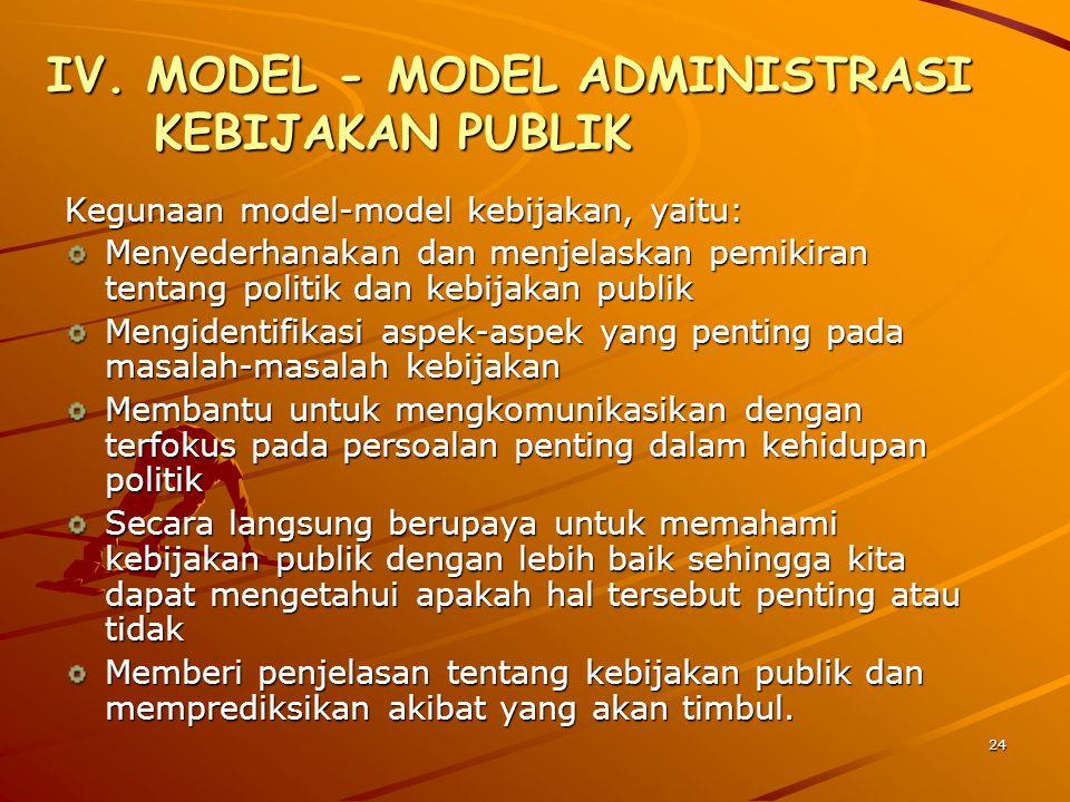 IV. MODEL - MODEL ADMINISTRASI KEBIJAKAN PUBLIK