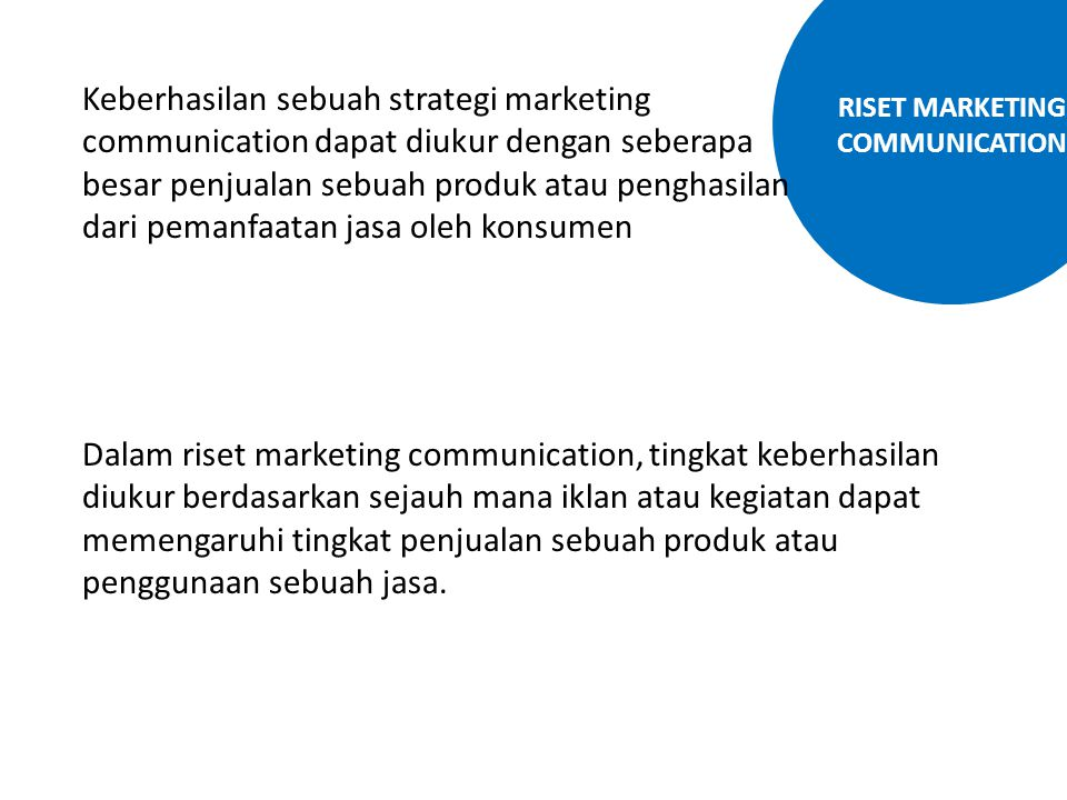 RISET MARKETING COMMUNICATION