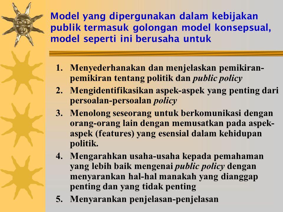 Model yang dipergunakan dalam kebijakan publik termasuk golongan model konsepsual, model seperti ini berusaha untuk