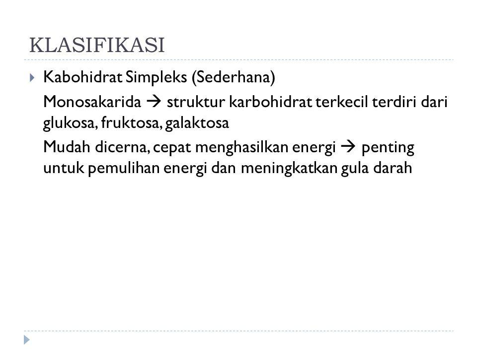 KLASIFIKASI Kabohidrat Simpleks (Sederhana)