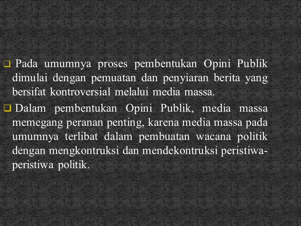 Pada umumnya proses pembentukan Opini Publik dimulai dengan pemuatan dan penyiaran berita yang bersifat kontroversial melalui media massa.