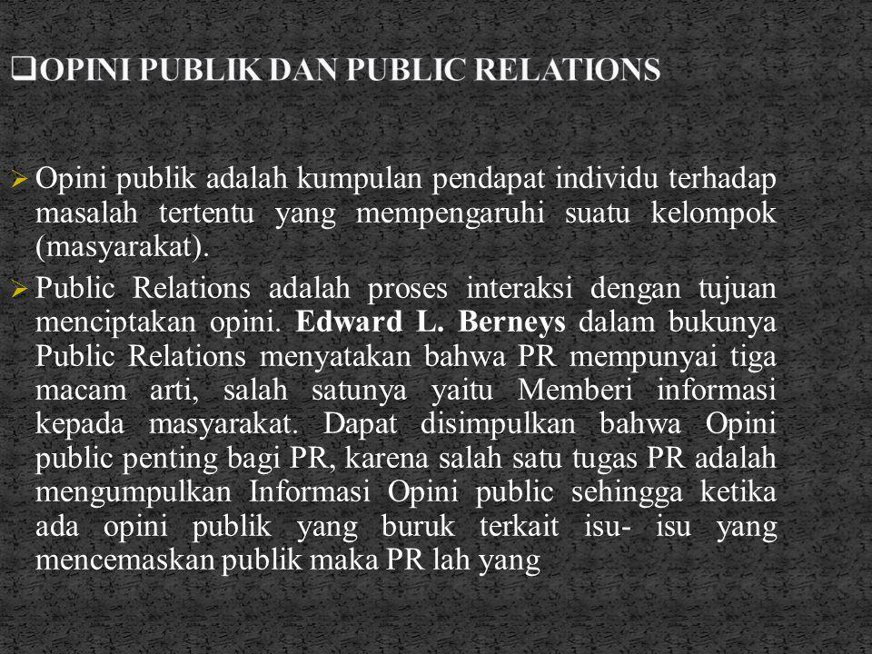 OPINI PUBLIK DAN PUBLIC RELATIONS