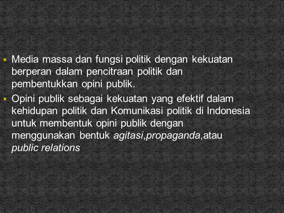 Media massa dan fungsi politik dengan kekuatan berperan dalam pencitraan politik dan pembentukkan opini publik.