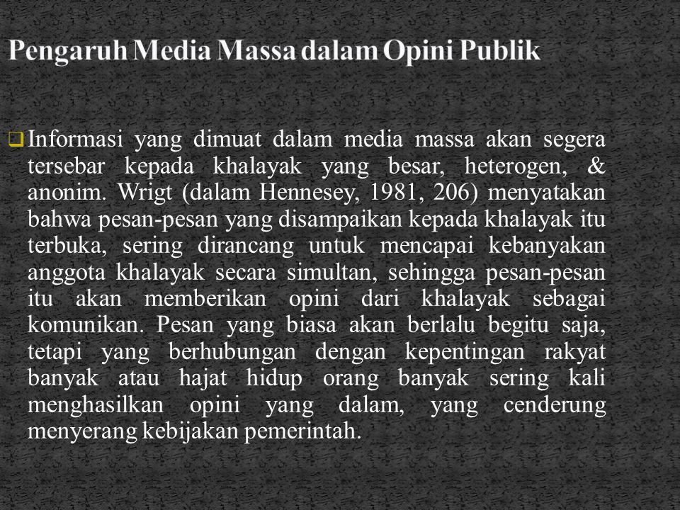 Pengaruh Media Massa dalam Opini Publik