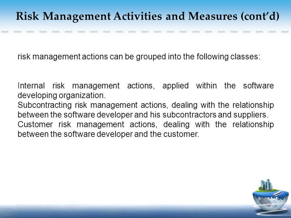 Risk Management Activities and Measures (cont'd)